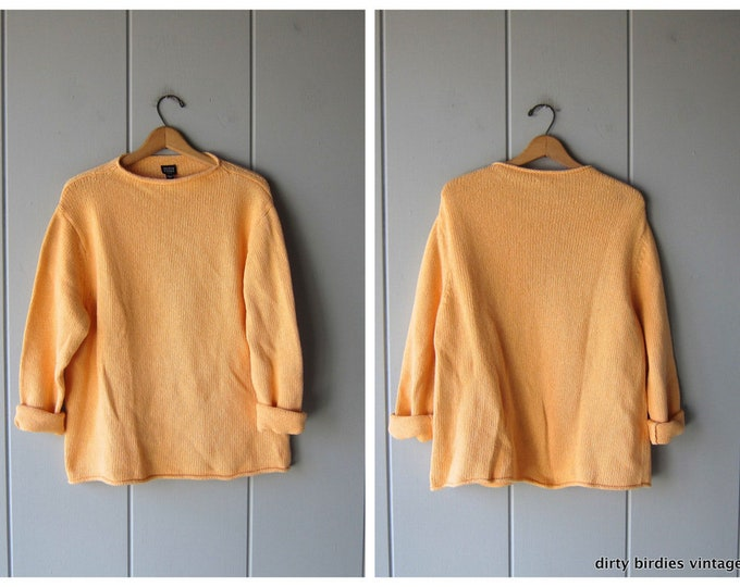 Oversized Yellow Cotton Sweater Thick Knit Pullover 90s Eileen Fisher Long Sleeve Basic Sweater XL Large