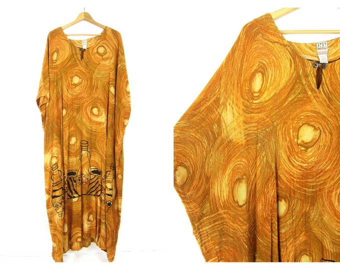 Vintage caftan Loose fit Slouchy Mustard Yellow Maxi Dress Vacation Resort wear Lounge beach Tent Dress Earthy Boho One Size