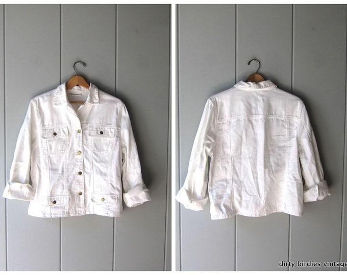 white denim jean jacket - Large