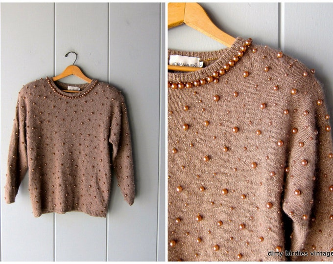 Embellished Knit Sweater Vintage 80s Brown SILK Knit Holiday Party Sweater BEADED Sweater Womens Large