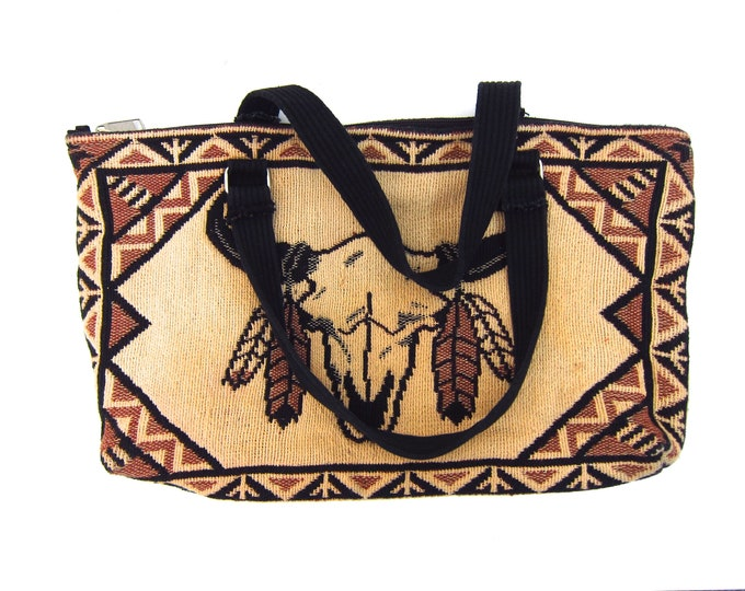 Cow Skull Purse Fabric Bag Southwestern Tapestry Bag Top Handle Craft Clutch Bag 70s Bull Skull Boho Hipster Hippie Handbag