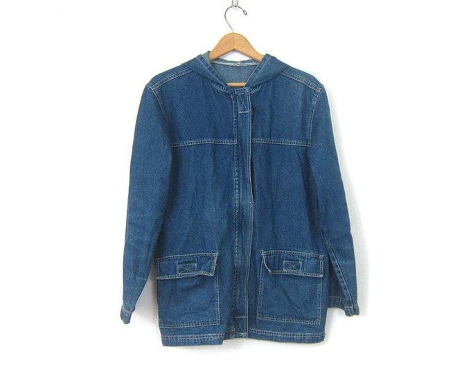vintage jean Jacket with Hood denim Hooded Coat Light Denim hoodie Jacket Slouchy Preppy Coat Women's Size Small