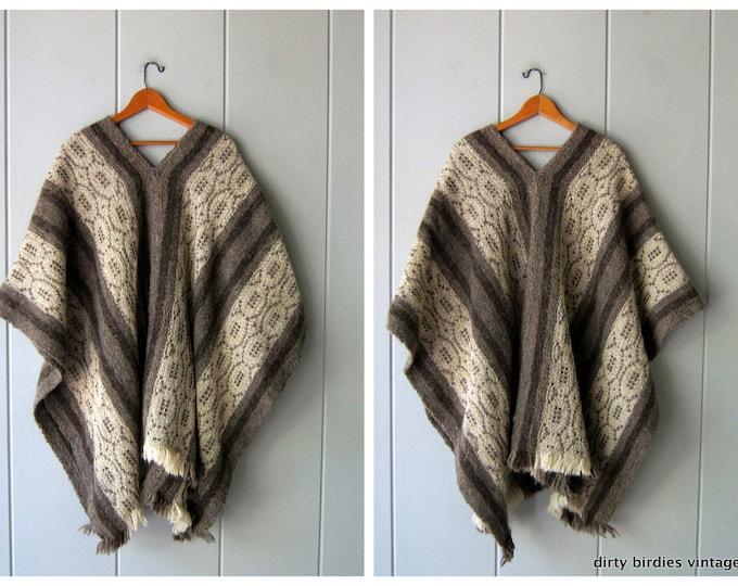 Natural Wool Knit Poncho