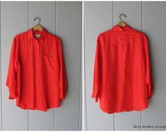 f0ee37bc Minimal Red Silk Blouse 90s Button Up Silk Shirt Basic Oversized Long  Sleeve Slouchy Silk Top Medium