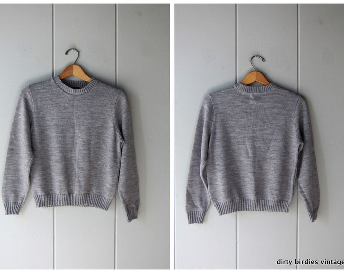 80s Grey Knit Sweater - XS
