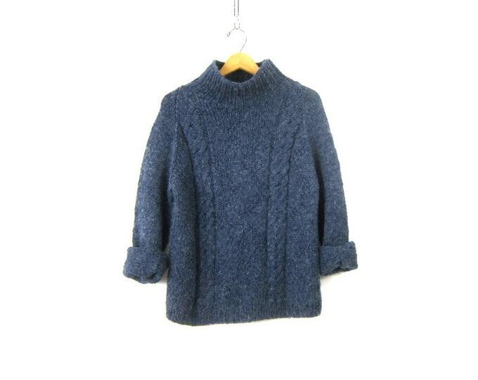 Blue Mock Neck Sweater Hand Knit Top Soft Winter Sweater Minimal Preppy Handmade Sweater Women's Medium