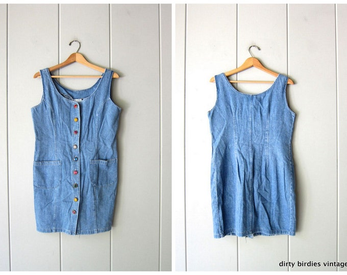 80s Gemstone Jean Dress - Large