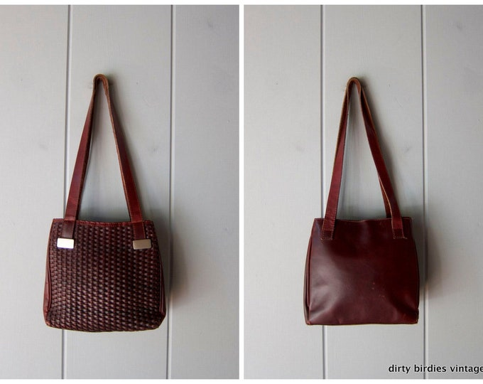 Woven Brown Leather Purse