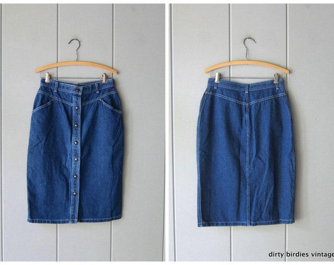 Button Front Denim Skirt - Medium 12