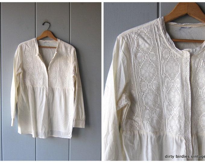 White Cotton Tunic Top Blouse Oversized Lace Bib Babydoll Blouse Vintage Minimal Loose Fit Draped Blouse Womens Large