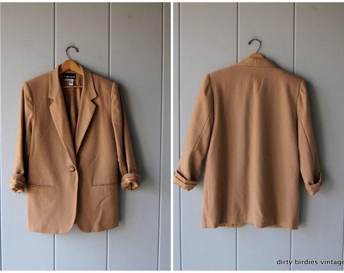 Vintage Camel Wool Blazer Minimal 90s Oversized Soft Wool Jacket Brown Fall Dress Coat Slouchy Boho Minimal Modern Womens Large 12