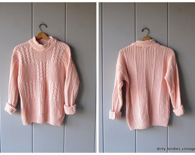 Chunky Knit Sweater 80s Thick Loose Knit Slouchy PINK Pullover Oversized Boho Sweater Minimal Preppy Womens Medium Large