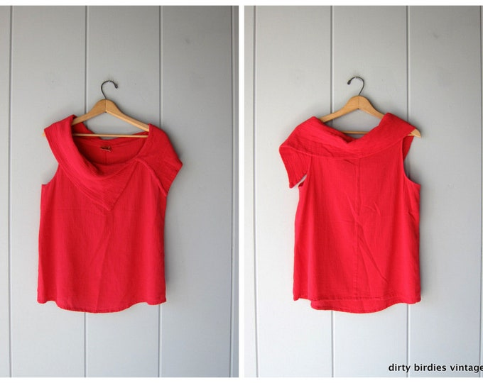 Red Cotton GAUZE Tank Top MINIMAL Oversized Vintage 90s Textured Gauzy Cotton Shirt Slouchy Boho Cowl Neck Blouse Tee Womens Medium Large