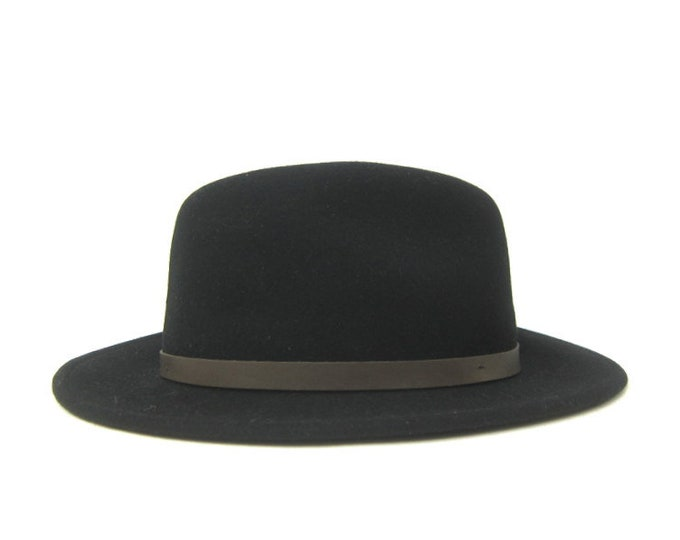 Vintage Black WOOL Hat Preppy Cowgirl Wool Felt Hat FEDORA Fashion Hat Retro Hipster Women's Hat Size Large