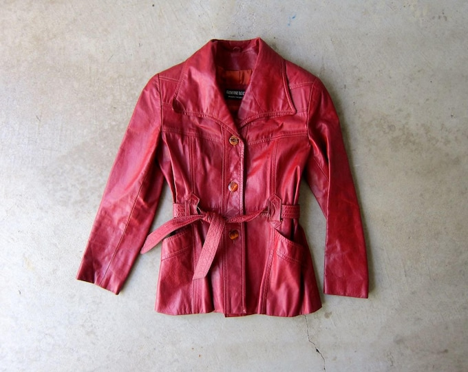 Vintage 70s Red Leather Jacket XS