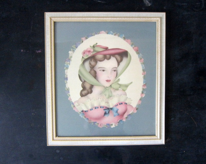 Vintage Framed Woman with Hat Picture Lady in Pink Dress
