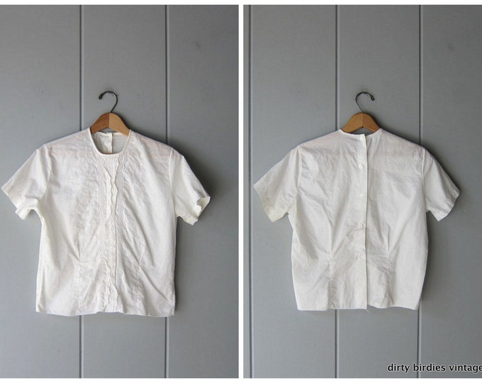 White Embroidered Blouse - S/M