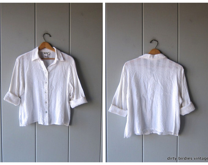White Cotton Blouse Minimal Quarter Sleeve Cropped Top 90s Modern Button Up Shirt White Boxy Blouse Womens Large