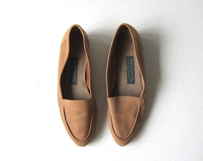 Beige Leather Slip Ons