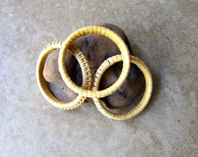 Natural wicker bangles - set of 3