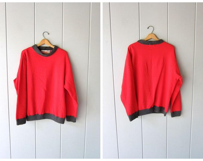 Oversized Red Cotton Sweatshirt