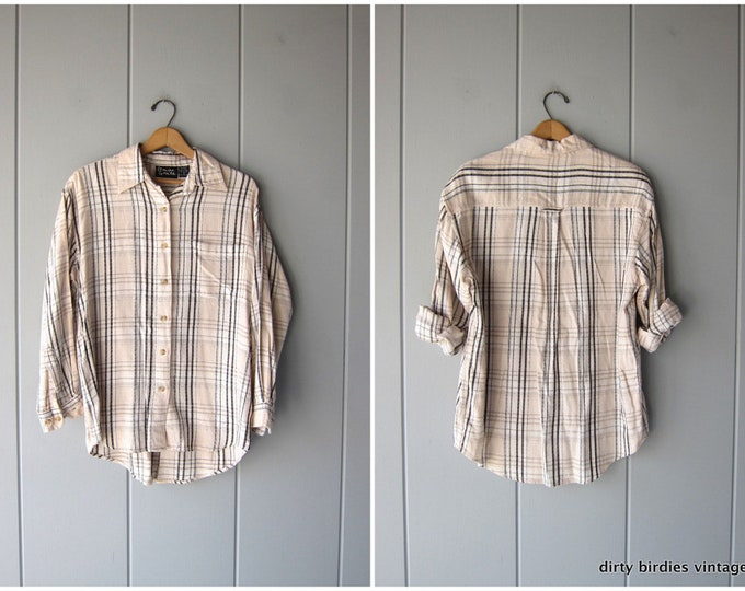Vintage Plaid Shirt Cream Tan Soft Woven Cotton Rayon Button Up Shirt Flannel Shirt Preppy 90s Grunge Button Down Womens Medium