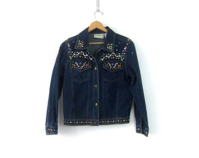 Dark Wash Jean Jacket Blue Denim Coat Hipster Festival Jacket Bejeweled Studded Bead Jacket Women's size Small