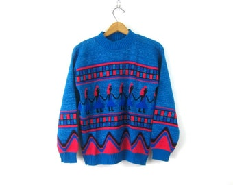 f853620f Novelty People Knit Sweater Sparkly Glitter Sweater Blue Metallic Sparkle  Sweater 80s Jumper Preppy Hipster Vintage Womens size Small Medium