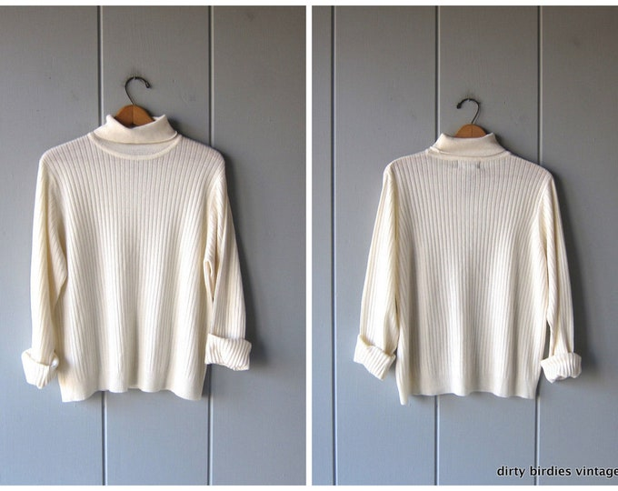 White Ribbed Knit Shirt Modern Cream Turtleneck Top Rib Shirt Thin Sweater 90s Minimal Basic Oversized Preppy Long Sleeve Top Womens XL