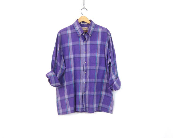 Smiple Purple Collar Shirt Thin Button Up Vintage Oxford Top Long Sleeve Gender Neutral Preppy Shirt Unisex Size XL