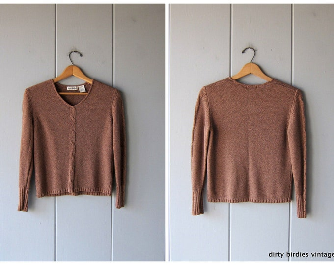 Brown Silk Knit Sweater Top Thin Cable Knit Minimal Pullover Top Preppy Knit Pullover Sweater Crop 90s Sweater Womens Petite Small
