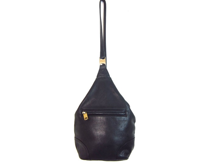 Black SUPPLE Leather Backpack 90s Rucksack One Strap Shoulder Bag Purse Hipster Revival 1990s School College Pack Leather Slouchy Knapsack
