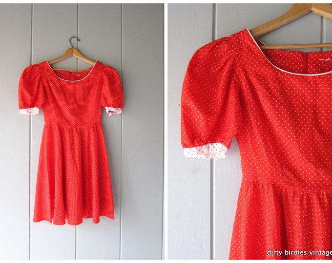 Red Polka Dot Dress 80s Midi Swing Dress Vintage Retro Sundress White Dotted Flirty Tea Party Dress Vintage Womens XS