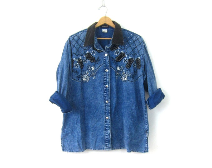 Oversized Beaded Shirt Dark Wash denim jean Stonewash Shirt Button Down Top Embroidered Floral Top Women's Size 1X
