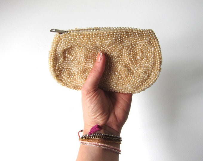 50s Beaded Coin Purse Vintage Off White Cream Retro Hollywood Glamour Pouch Bag Womens Hand Bag Make Up Bag