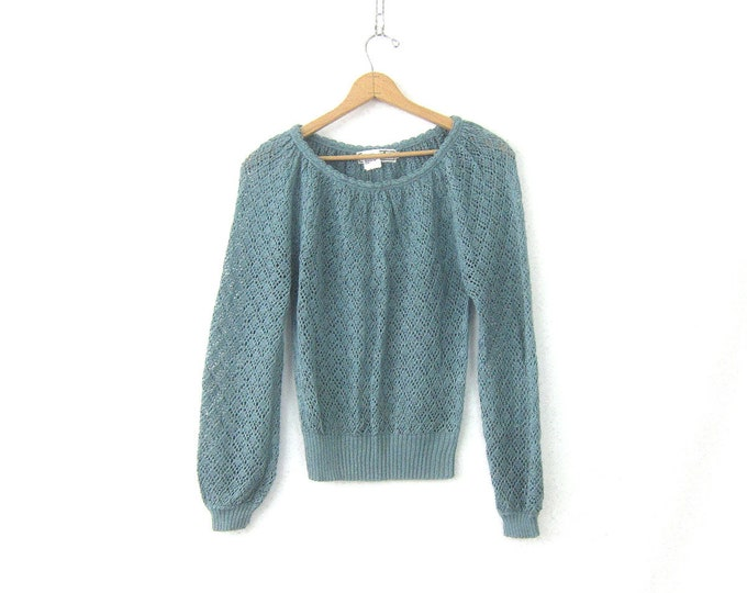 Blue Open Knit Swester 80s Loose Knit Top Minimal Preppy Spring Sweater Plain Blue Scoopneck Sweater Casual Top Women's size Medium