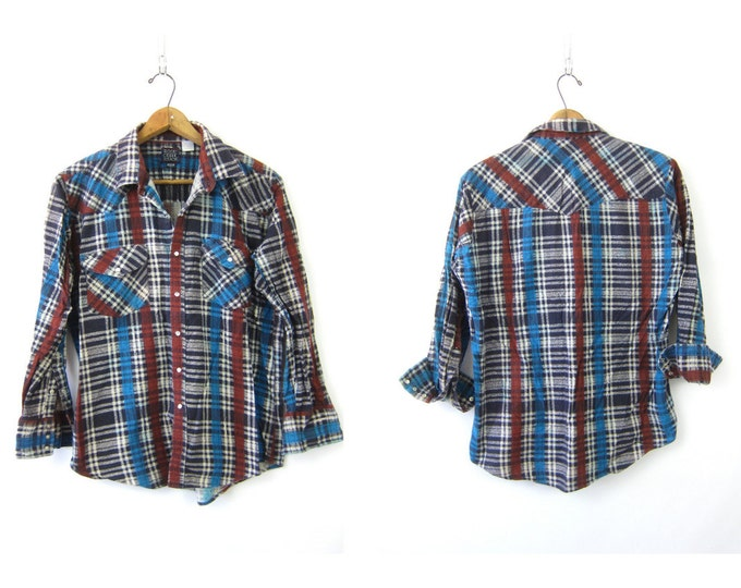 80s Western Flannel Shirt Red Black Blue Southwestern Pearl Snap Shirt Urban Hipster cowboy vintage Top Large XL