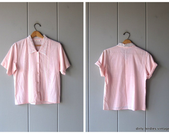 Delicate Pink Blouse Short Sleeve Shirt 80s Lace Collared Top Modern Buttons Up Semi Sheer Preppy Blouse Womens Small Medium
