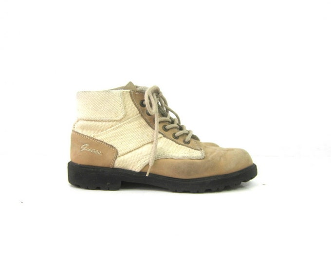 vintage Leather GUESS Hiking boots lace up Canvas Booties Light Tan Brown Shoes Ankle Rugged Boots women's shoes size 8.5