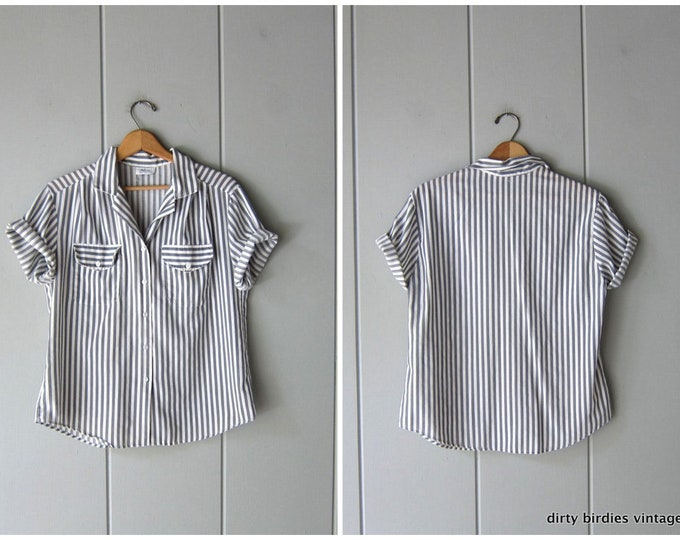 80s White Gray Striped Shirt