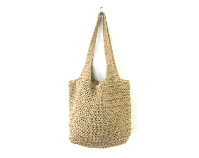 Khaki fabric bucket bag The SAK purse Vintage woven bag shoulder bag purse boho bag crochet knit handbag hobo knit tote