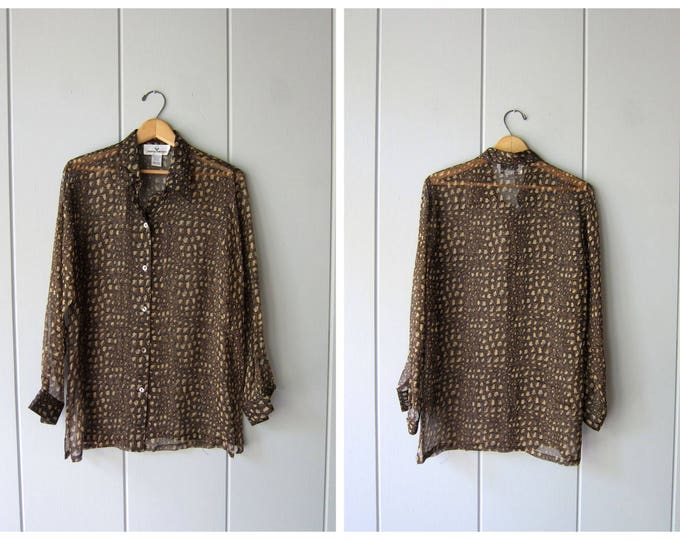 90s Sheer SILK Blouse Black Beige Reptile Print Blouse Button Up Blouse 90s Modern Minimal Blouse Casual Long Sleeve Silk Top Womens Small