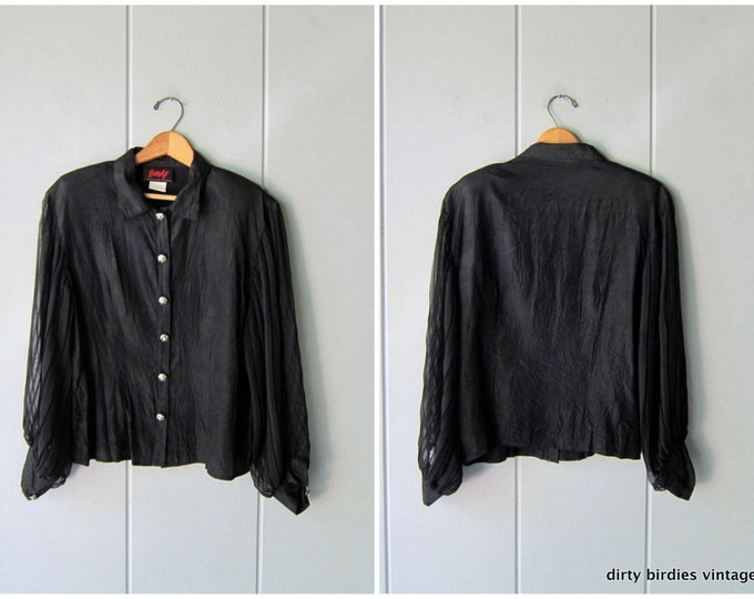80s Black Blouse with Sheer Sleeves