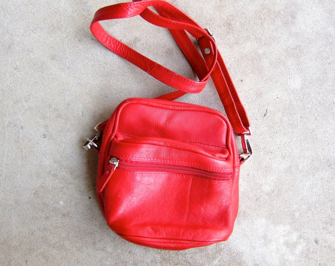 Red Leather Purse 80s Square Bag Small Boxy Leather Purse Vintage Cross Body Shoulder Bag