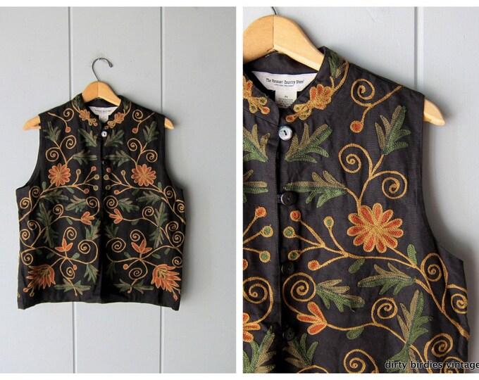 90s Floral Vest Black Orange Bohemian Embroidered India Vest Vintage Sleeveless Shirt Womens Medium