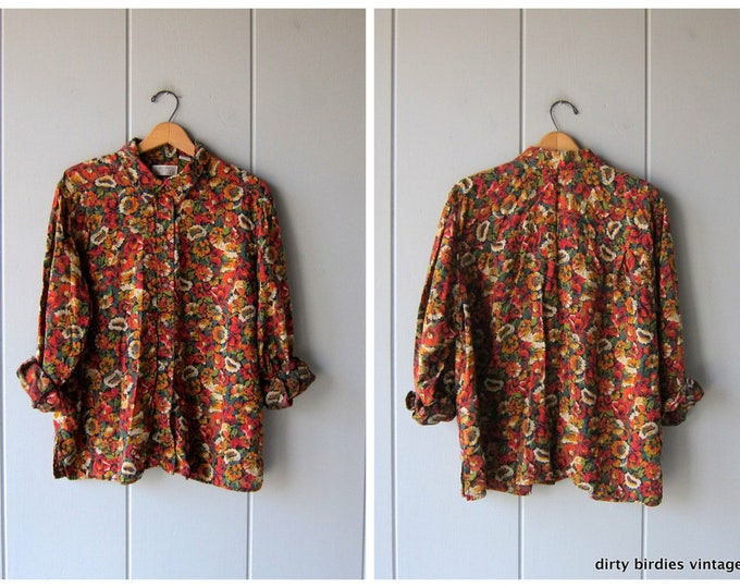 Floral Blouse 90s Rayon Blouse Long Sleeve Fall Colors Shirt Green Red Yellow Vintage Casual Oversized Flower Print Blouse Womens XL