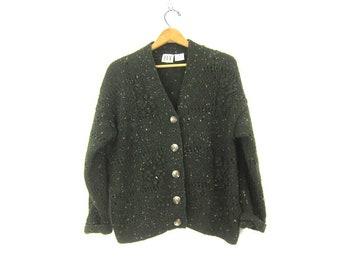 f194ca7253 90s Dark Green Cardigan Sweater Vintage Button Up Sweater Popcorn Knit Cardigan  Sweater Casual Urban Chic Womens Medium
