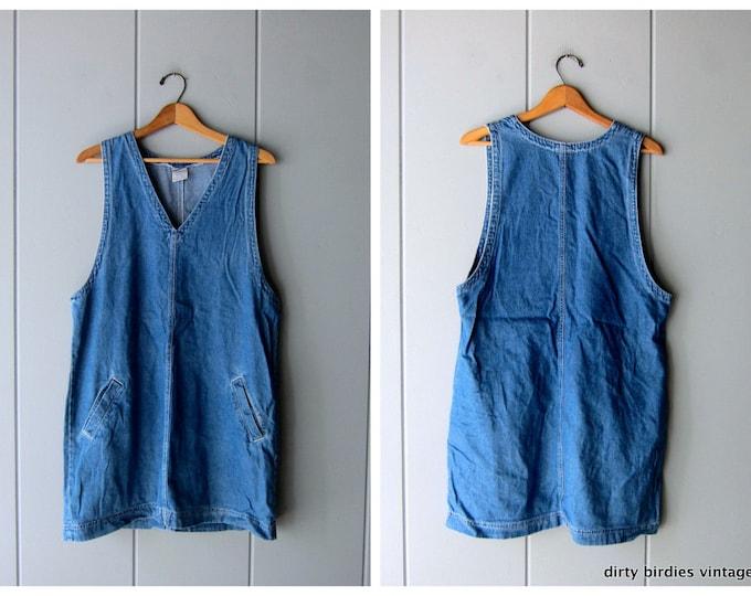 90s Denim Jumper Dress - M/L