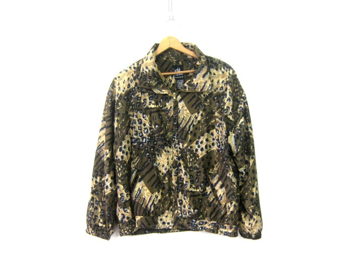 Animal Print Jacket Retro Windbreaker Jacket 90s Coat Brown Feather pattern Slouchy Hipster Coat Vintage Womens Large