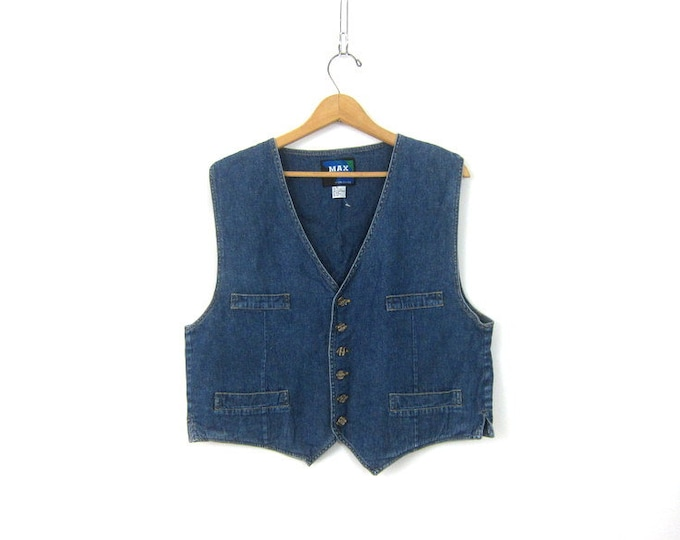 Simple 80s Denim Jean Vest Sleeveless Western Cowgirl Shirt Pockets Jean Jacket Coat Boho Hipster Size Medium Large